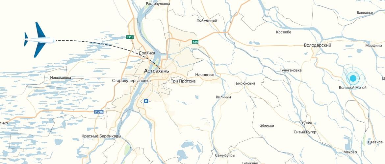 Карта с самолетом