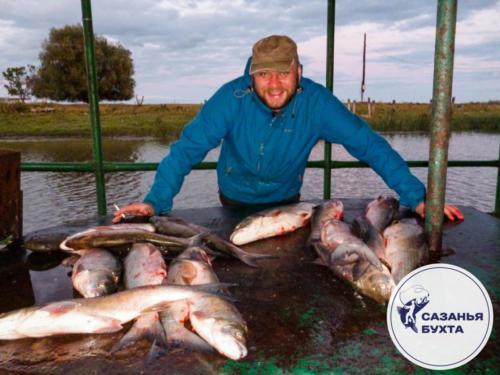 Рыбак с уловом сазанов